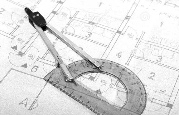 A compass and protractor placed on architecture blueprint drawing